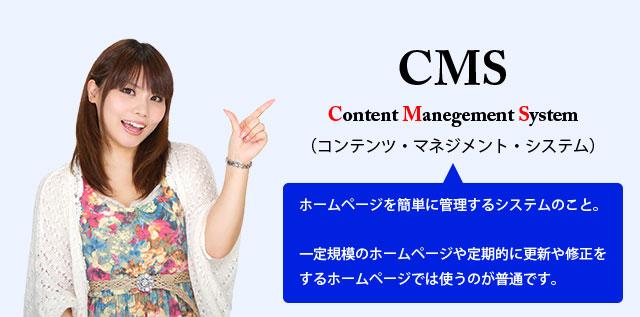 CMSとはContent Manegement System(コンテンツ・マネジメント・システム)の略称で、ホームページを簡単に管理するためのシステムのこと。一定規模のホームページや定期的に更新や修正をするホームページでは使うのが普通です。
